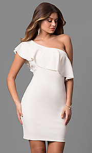 One-Shoulder Ivory Graduation Dress With Ruffle