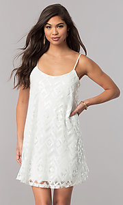 Ivory Short Sequin Shift Reception-Party Dress