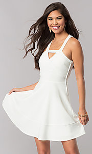 Short Ivory White A-Line Party Dress with Cut Outs