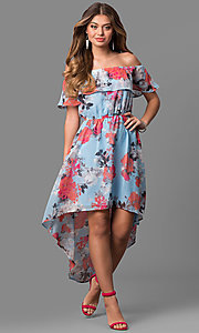 Off-the-Shoulder High-Low Floral Print Party Dress