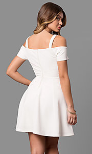 Image of cold-shoulder short sleeve ivory graduation dress. Style: EM-FEE-2019-120 Back Image