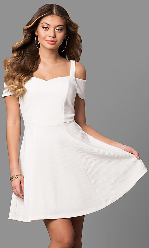 Image of cold-shoulder short sleeve ivory graduation dress. Style: EM-FEE-2019-120 Front Image