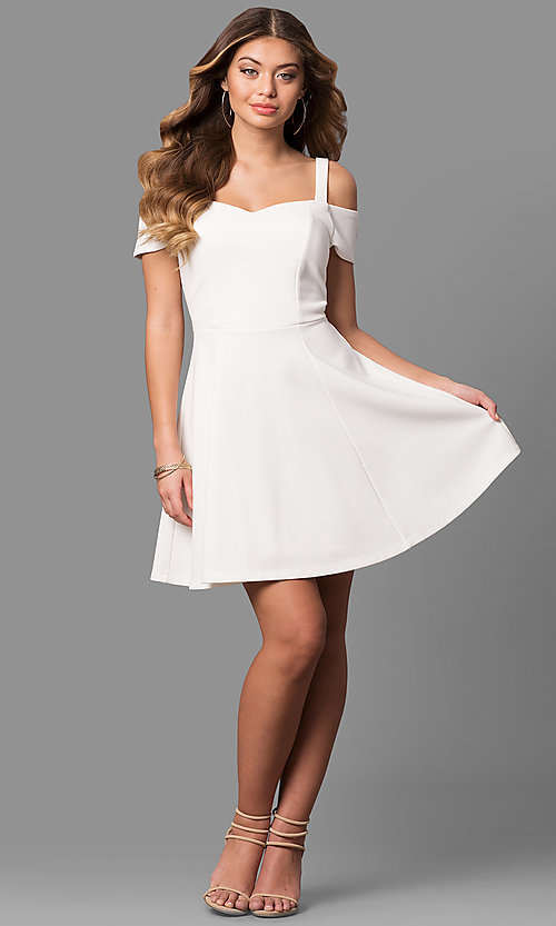 Image of cold-shoulder short sleeve ivory graduation dress. Style: EM-FEE-2019-120 Detail Image 1