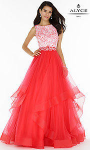Long A-Line Prom Dress with a Print Top