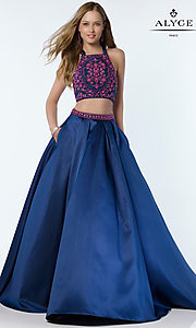 Two Piece A-Line Long Alyce Prom Dress