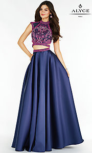 Long Two Piece Prom Dress with Side Cut Outs