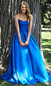 A-Line Alyce Long Strapless Prom Dress