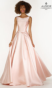 Bateau Neck Ball Gown Style Prom Dress
