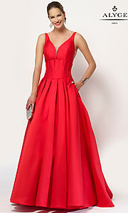 A-Line Long Open Back V-Neck Prom Dress