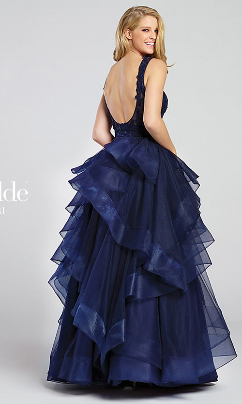 Image of long v-neck lace and tulle ball gown by Ellie Wilde. Style: TB-EW117081 Back Image