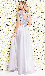 Image of two-piece chiffon long prom dress by Shail K. Style: SK-1118 Back Image