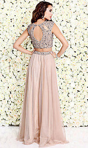 Image of two-piece chiffon long prom dress by Shail K. Style: SK-1118 Detail Image 2