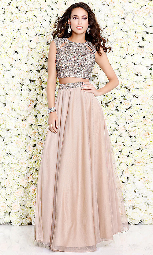Image of two-piece chiffon long prom dress by Shail K. Style: SK-1118 Detail Image 1