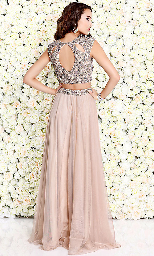 Image of two-piece chiffon long prom dress by Shail K. Style: SK-1118 Detail Image 3