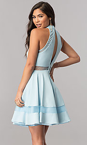 Image of high-neck light blue short homecoming party dress. Style: DMO-J316787 Back Image