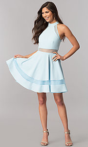 Image of high-neck light blue short homecoming party dress. Style: DMO-J316787 Detail Image 1