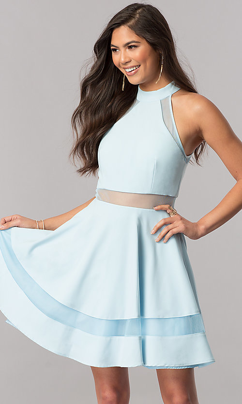 Image of high-neck light blue short homecoming party dress. Style: DMO-J316787 Front Image
