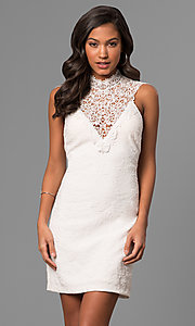 Image of junior-size white party dress with illusion v-neck. Style: DMO-J316337 Front Image