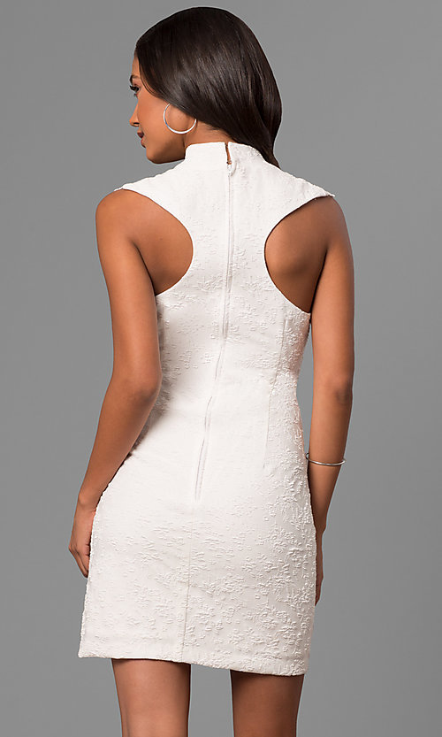 Image of junior-size white party dress with illusion v-neck. Style: DMO-J316337 Back Image