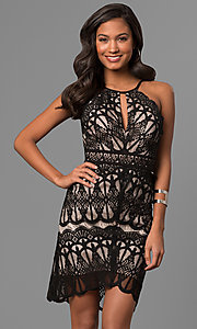 Short Lace Party Dress with Keyhole
