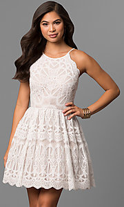 Ivory and Nude Short Lace Graduation Party Dress