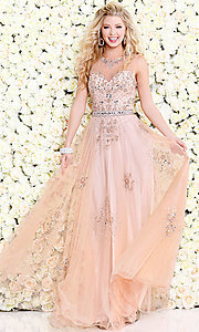 Shail K Illusion Long Beaded Prom Dress