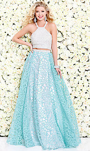Two Piece Long Floral Organza Prom Dress