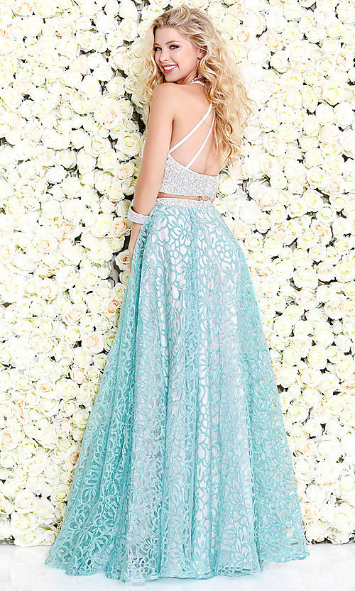 b8310d83dae Two Piece Long Floral Organza Prom Dress