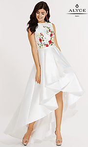 Embroidered High-Neck High-Low Prom Dress by Alyce