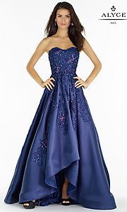 Long High Low Blue Beaded Prom Dress