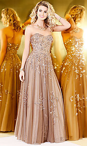 A-Line Beaded and Sequined Prom Dress