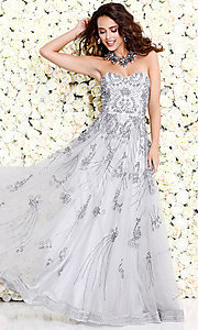 Long Silver Strapless Beaded Prom Dress