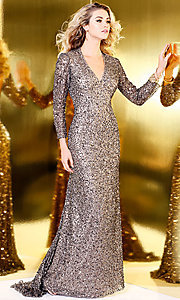Long Silver Sequin Prom Dress with Long Sleeves