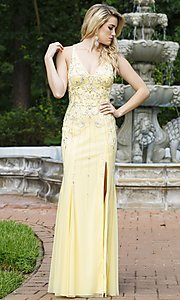 V-Neck Banana Yellow Prom Dress