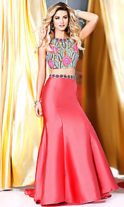 Coral Two Piece Long Open Back Prom Dress