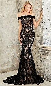 Long Embroidered Off the Shoulder Prom Dress
