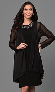 Short Black Sheath Party Dress with Sheer Jacket