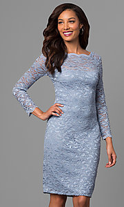 Long-Sleeve Short Glitter Lace Wedding Guest Dress