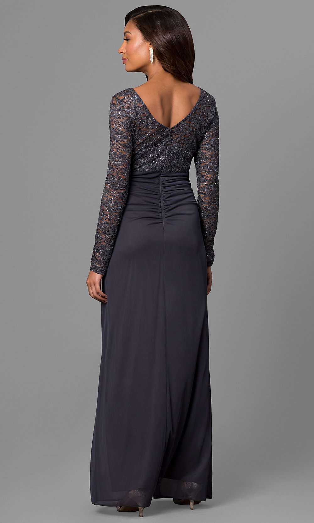 Gunmetal Wedding-Guest Dress with Lace-PromGirl
