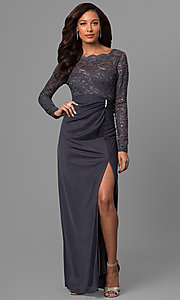 Image of long sleeve lace wedding-guest dress in gunmetal. Style: JU-ON-644596 Front Image