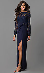 Image of long sleeve lace wedding-guest dress in gunmetal. Style: JU-ON-644596 Detail Image 2