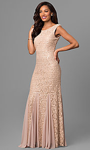 Champagne Gold Lace Long Mother-of-the-Bride Dress