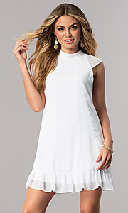 Short Optic White Shift Party Dress