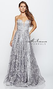 Silver Long Lace Prom Dress