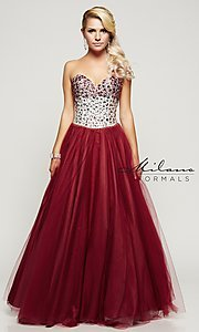 Wine Red Strapless Long Prom Dress