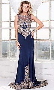 Long Navy Blue Illusion Sweetheart Prom Dress