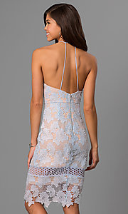 Image of short knee-length graduation dress in ice blue lace. Style: AC-DA23231B Back Image