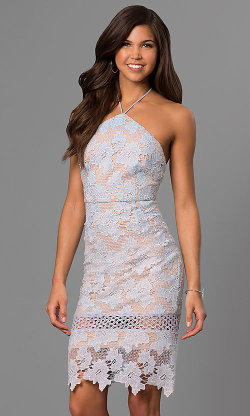 Image of short knee-length graduation dress in ice blue lace. Style: AC-DA23231B Front Image