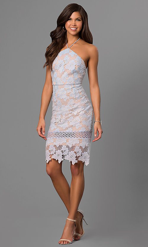 Image of short knee-length graduation dress in ice blue lace. Style: AC-DA23231B Detail Image 1