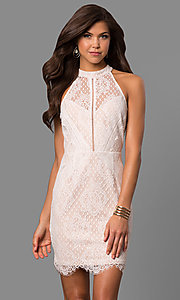 Image of illusion off-white lace short graduation dress. Style: AC-CD10576BS Front Image